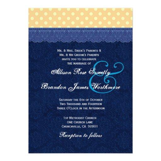 Navy And Peach Wedding Invitations: Navy Blue Damask Peach Polka Dots Wedding Invitations