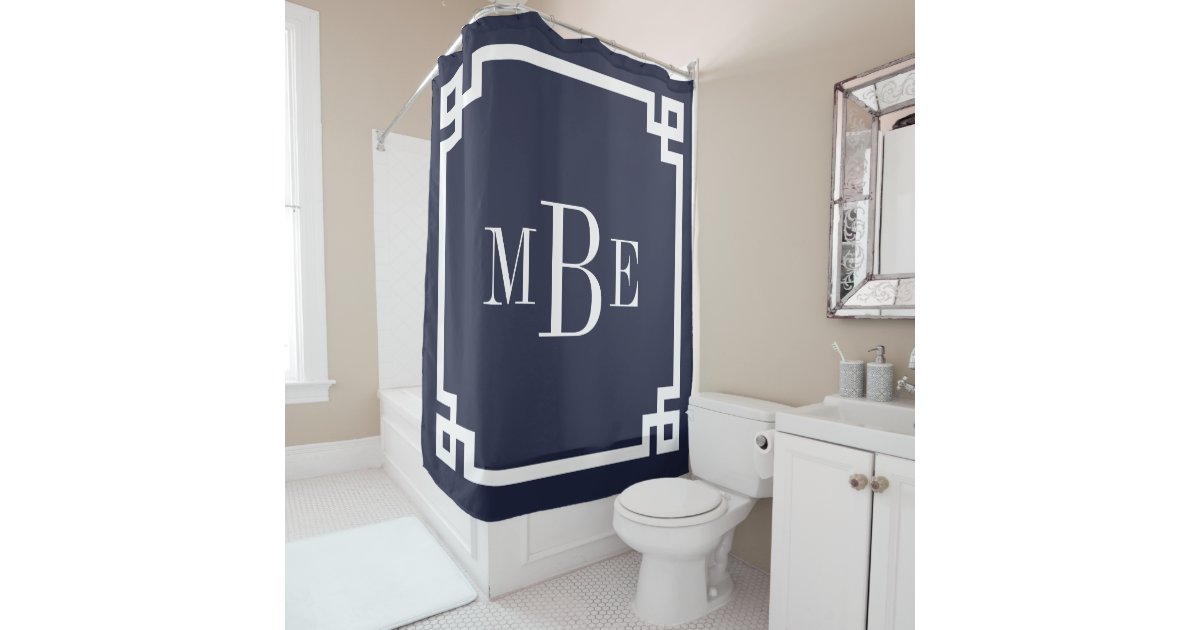 Navy Blue Greek Key Border Monogram Shower Curtain Zazzle