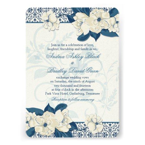 Navy Blue And Ivory Wedding Invitations