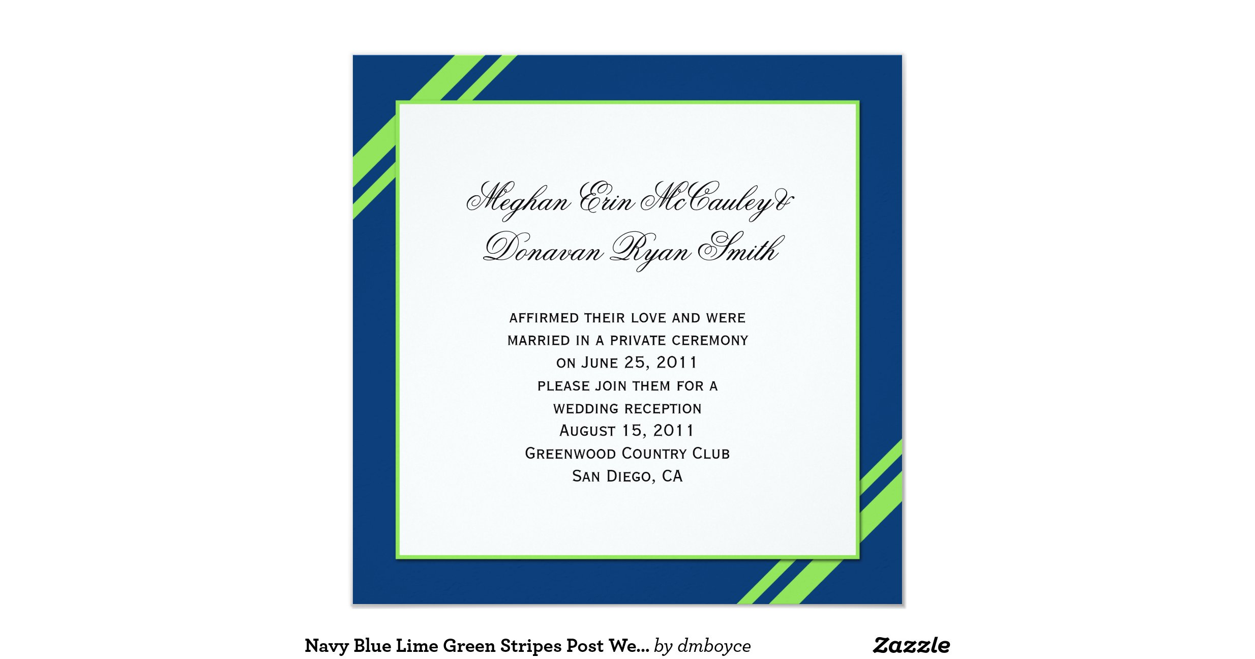 Royal Blue And Lime Green Wedding Invitations: Navy_blue_lime_green_stripes_post_wedding_invitation