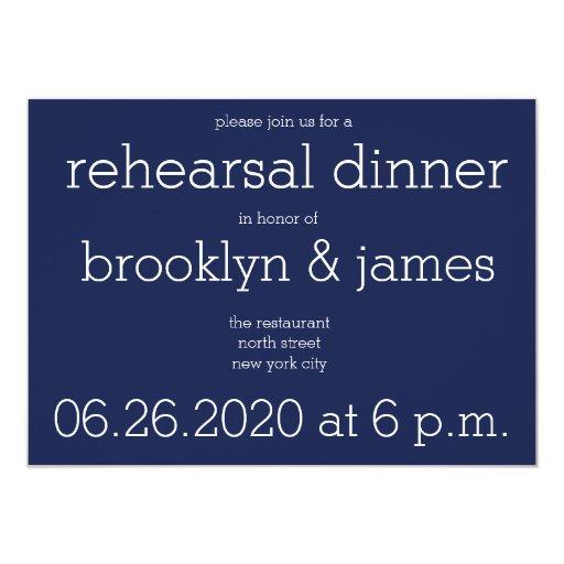 Navy Blue Wedding Invitations Modern: Navy Blue Modern Wedding Rehearsal Invitations