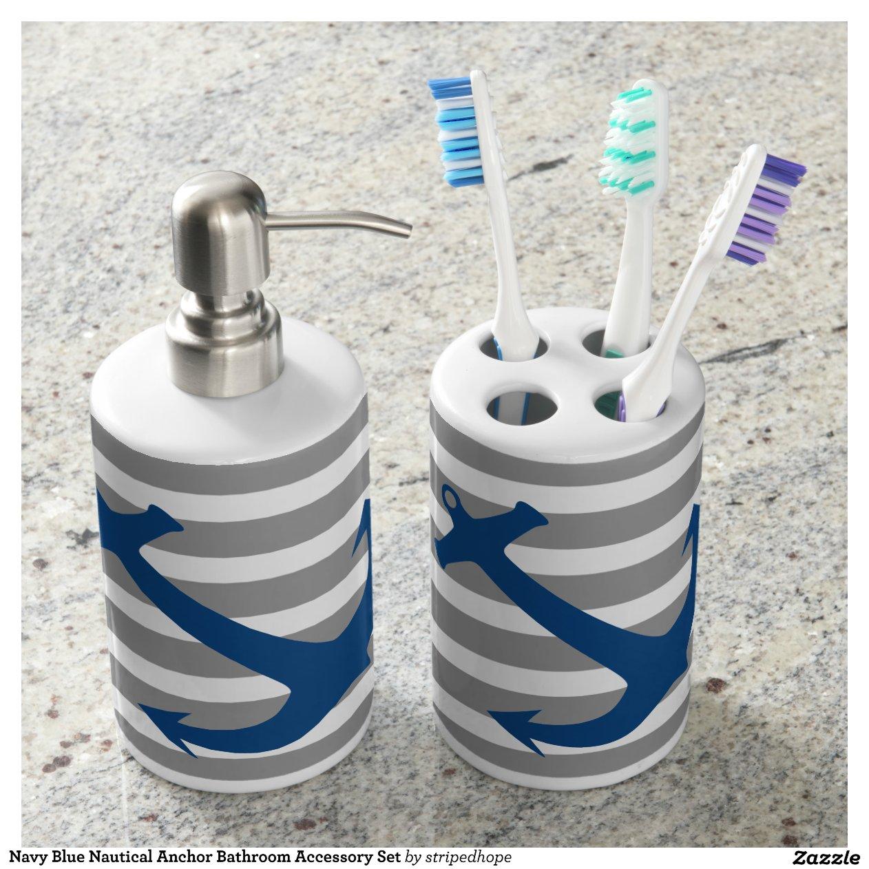 Lighthouse Nautical Bathroom Accessories: Navy Blue Nautical Anchor Bathroom Accessory Set Bath Sets