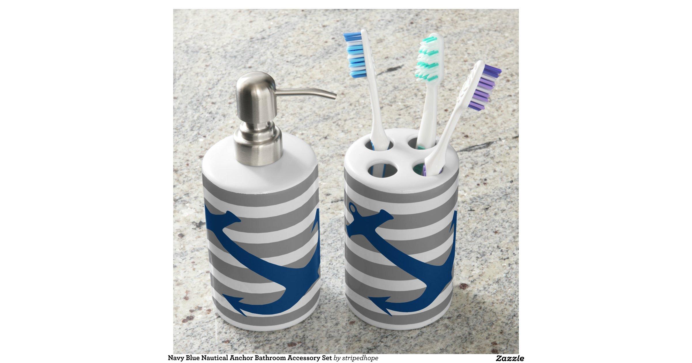Navy Blue Nautical Anchor Bathroom Accessory Set Bath Sets