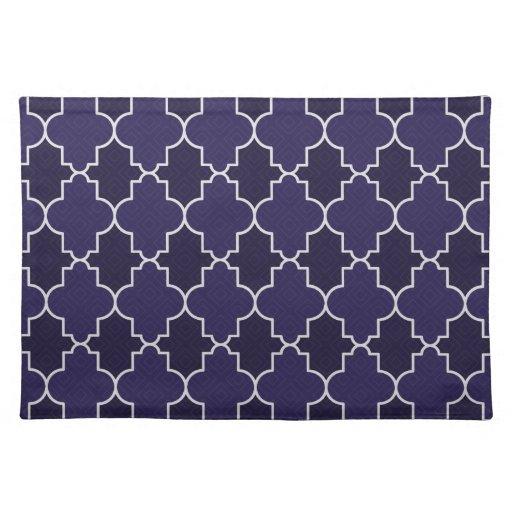 Navy Blue Quatrefoil Geometric Pattern Place Mat | Zazzle