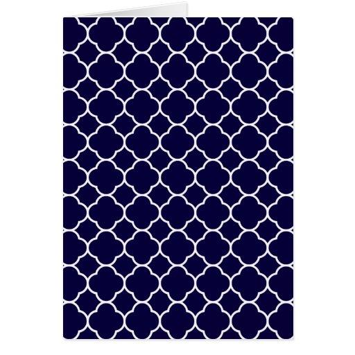 Navy Blue Quatrefoil Pattern Greeting Card | Zazzle