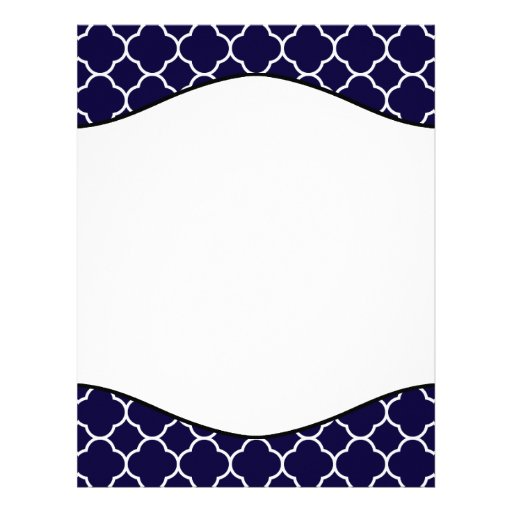Navy Blue Quatrefoil Pattern Letterhead Design | Zazzle