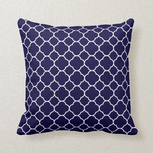 Navy Blue Quatrefoil Pattern Pillow | Zazzle