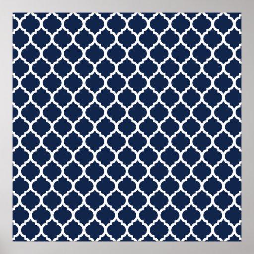 Navy Blue Quatrefoil Pattern Poster | Zazzle