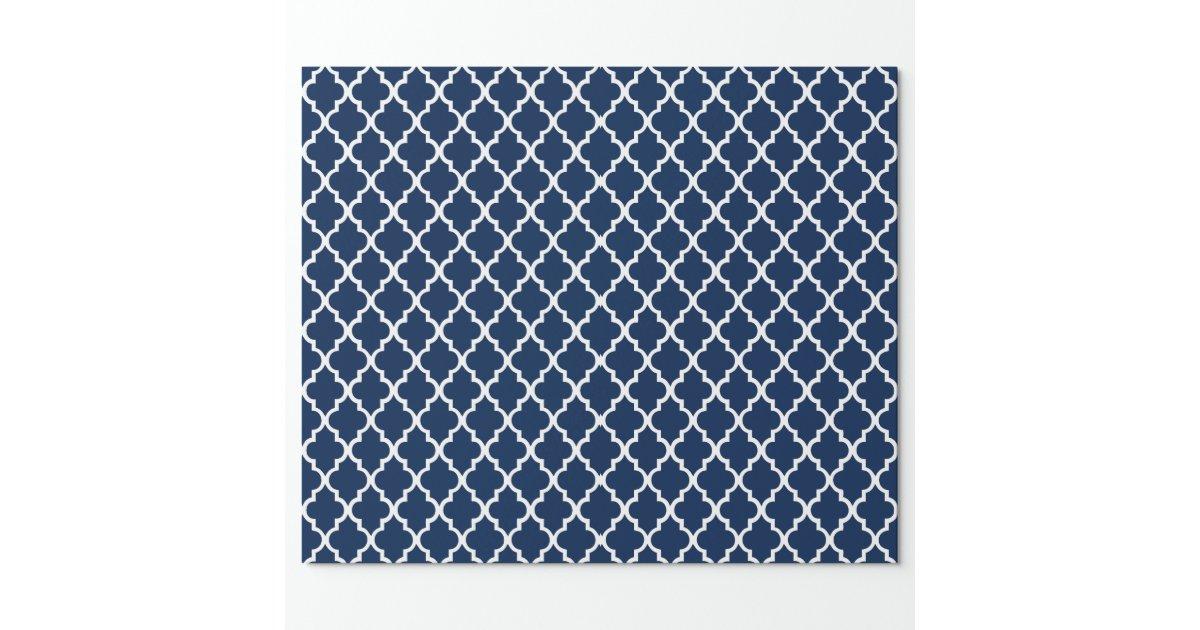 Navy Blue Quatrefoil Tiles Pattern Wrapping Paper | Zazzle
