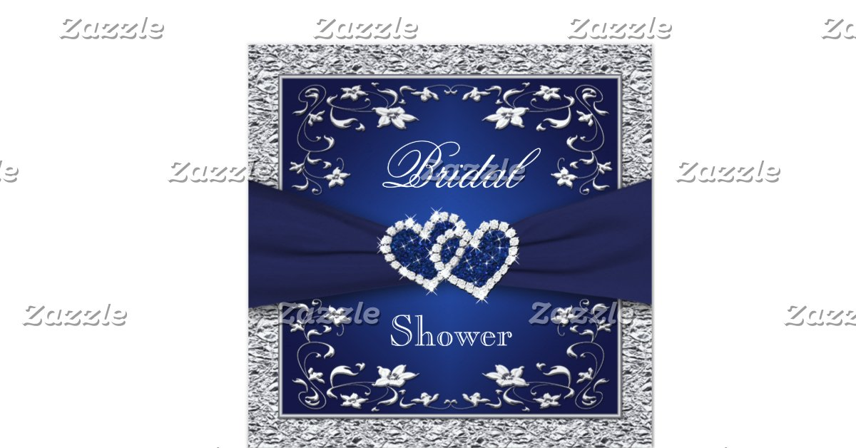 Navy Blue And Silver Wedding Invitations: Navy Blue, Silver Floral, Hearts Bridal Shower 5.25x5.25
