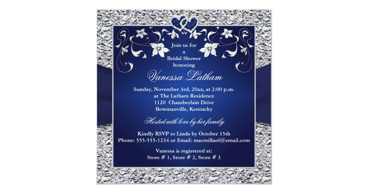 Navy Blue And Silver Wedding Invitations: Navy Blue, Silver Floral, Hearts Bridal Shower Invitation