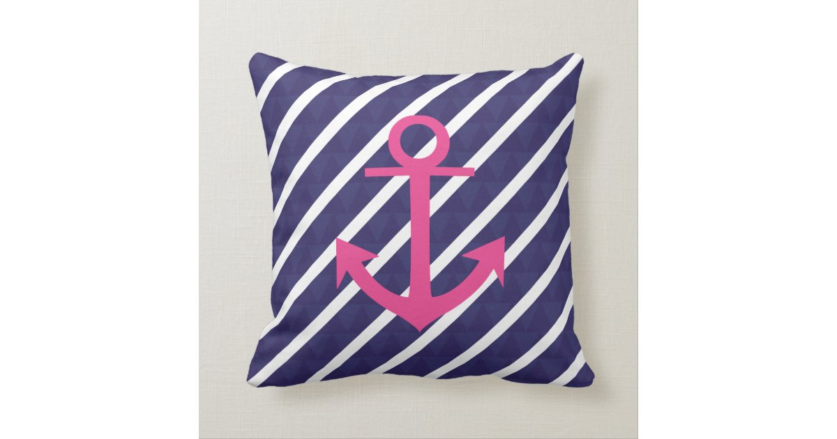Navy And Pink Decorative Pillows: Navy Blue Stripes And Hot Pink Anchor Design Throw Pillow