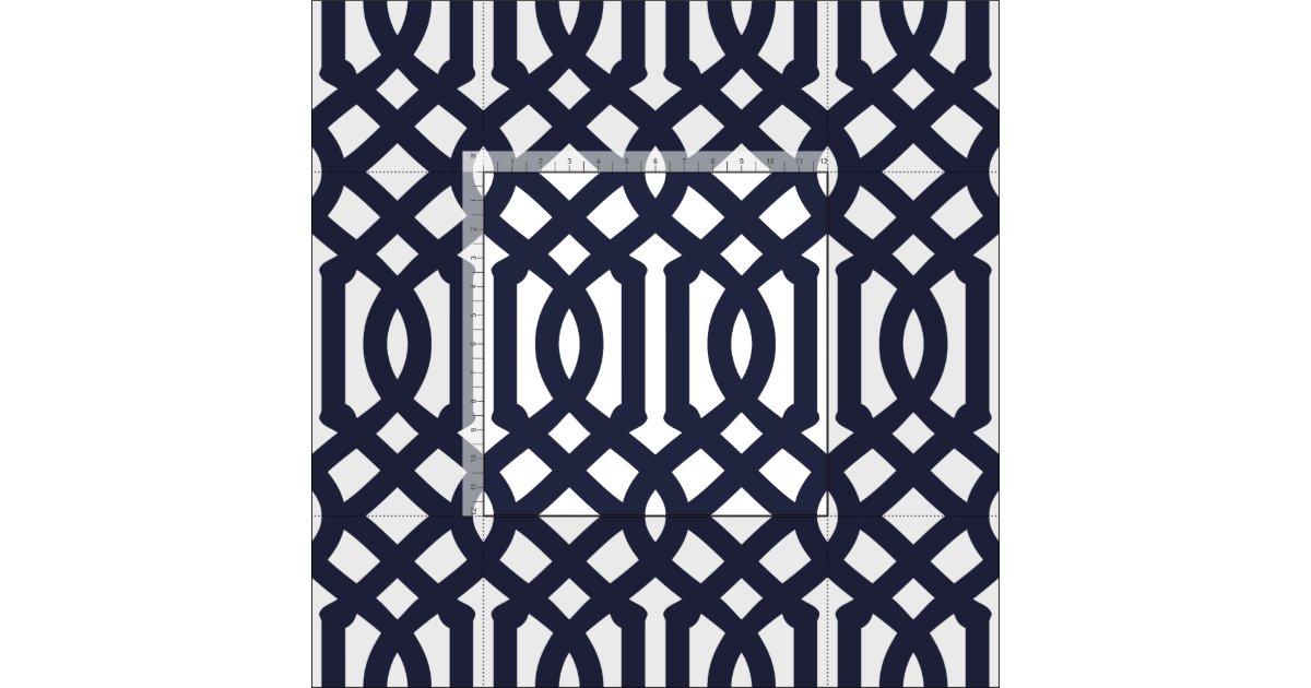 Navy Blue Trellis Large Scale Fabric Zazzle