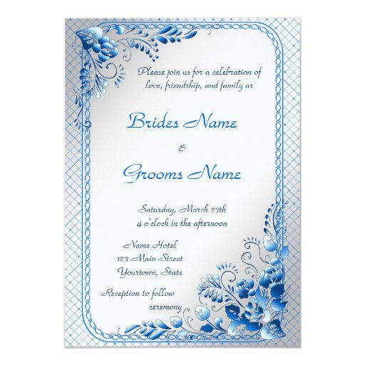 Wedding Invitations Blue And Silver: Navy Blue Wedding Invitation On Styled Silver