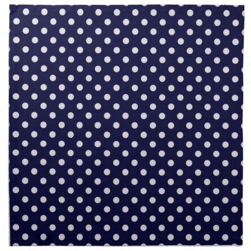Navy Blue White Polka Dot Pattern Printed Napkin   Zazzle