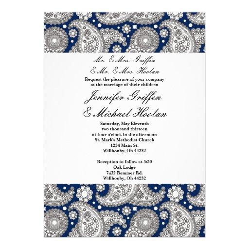 """Navy Paisley Wedding Invitations 5"""" X 7"""" Invitation Card"""