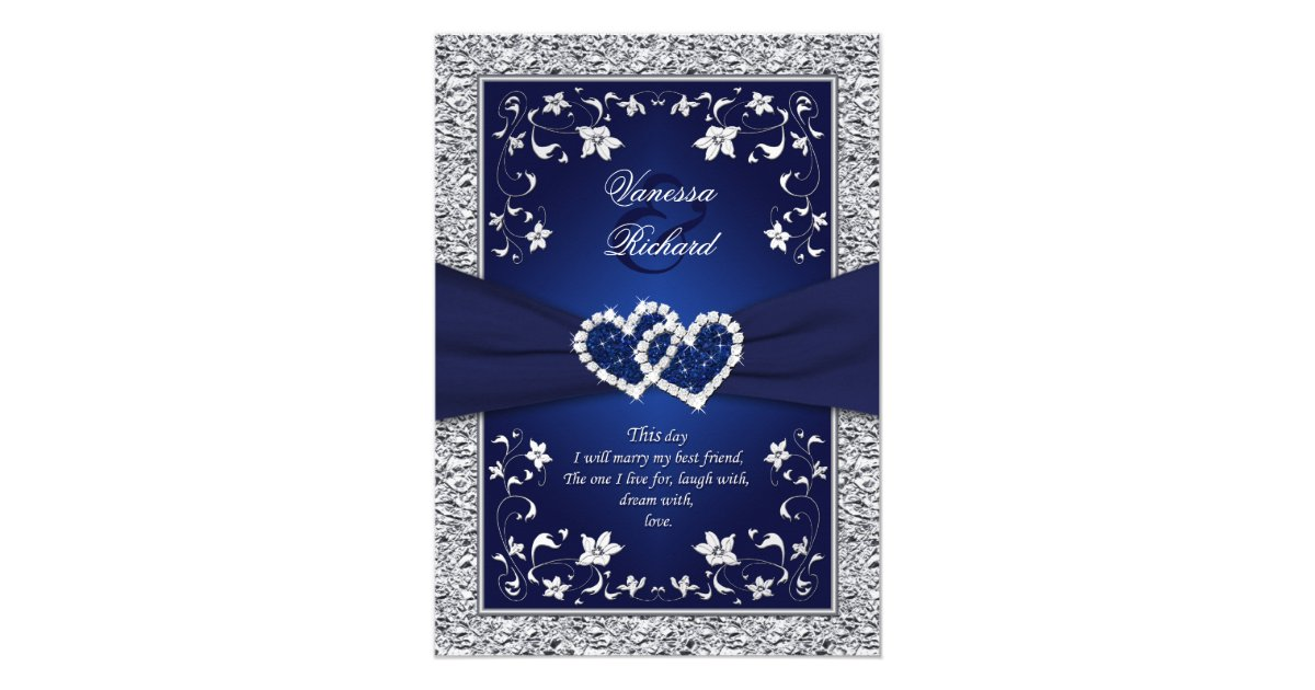 Navy Blue And Silver Wedding Invitations: Navy Silver Floral Hearts FAUX Foil Wedding Invite