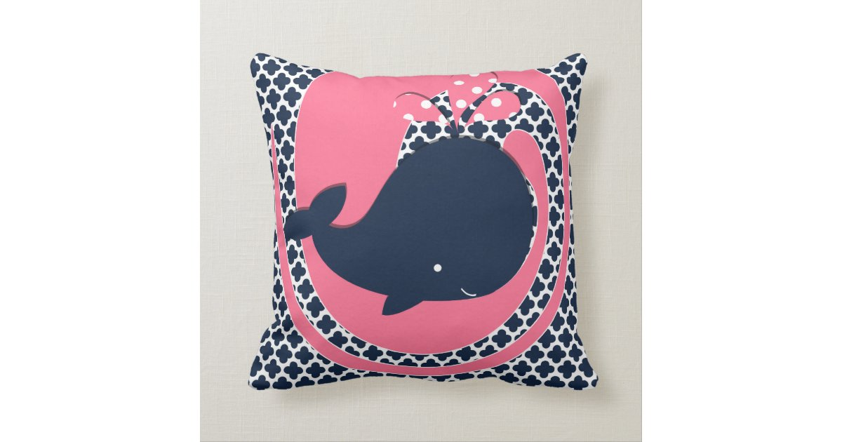 Navy And Pink Decorative Pillows: Navy Whale On Pink And Navy Throw Pillow