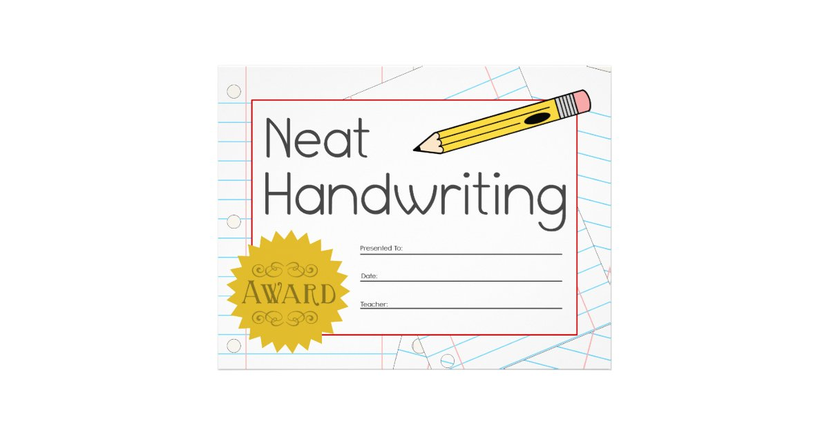 ocd neat handwriting award