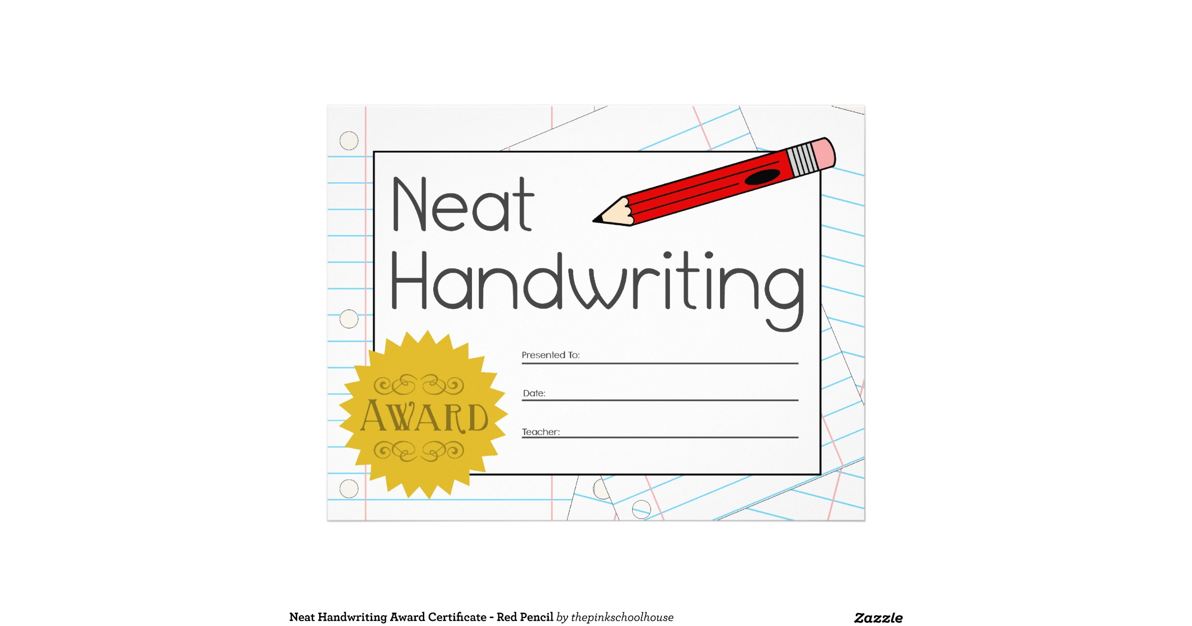 pictures of neat handwriting award