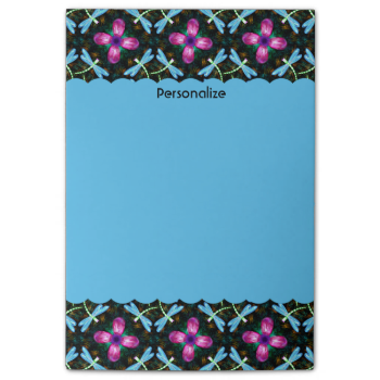 Neon Dragonflies Pink Flower Black Shimmer Pattern Post-it® Notes