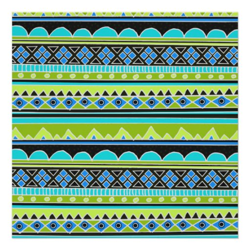Neon Green and blue tribal pattern Poster | Zazzle