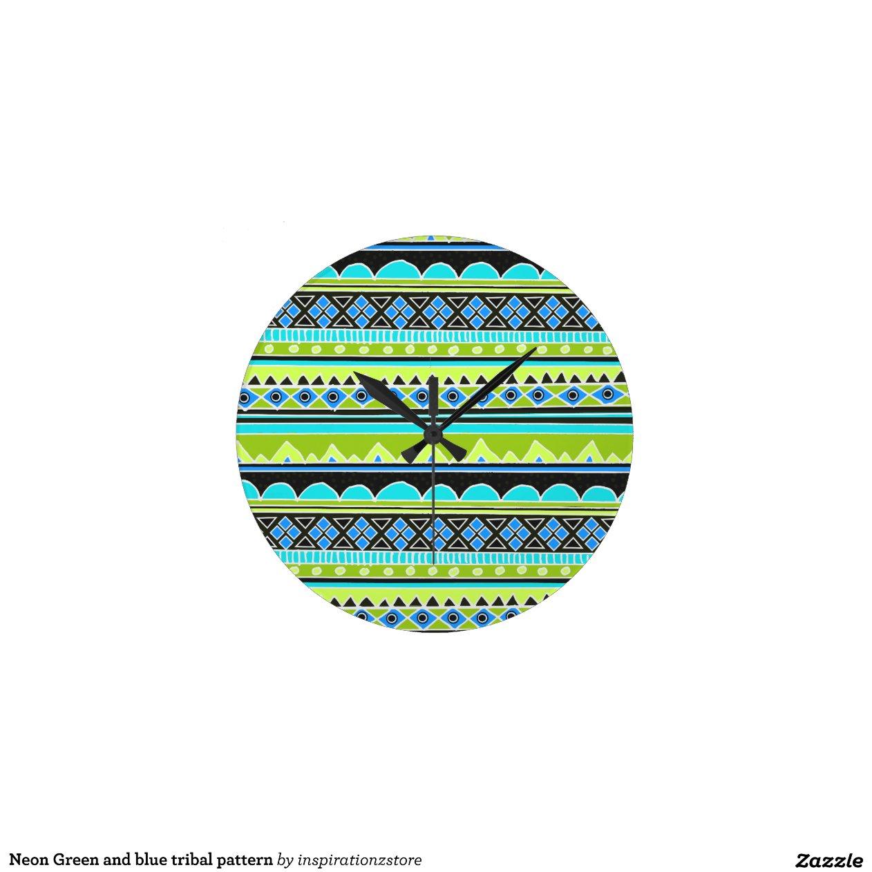 Neon Green And Blue Tribal Pattern Round Wallclock Zazzle