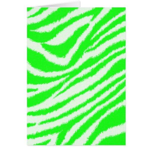 neon green zebra pattern card zazzle. Black Bedroom Furniture Sets. Home Design Ideas