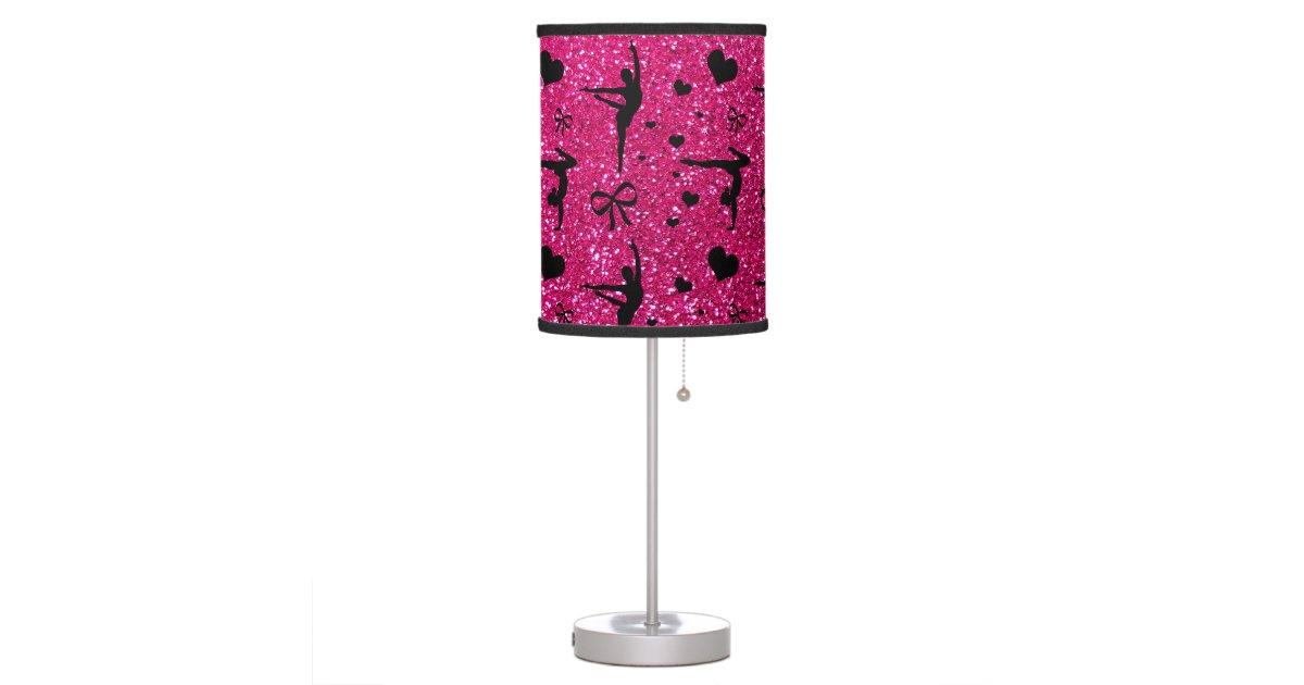 Neon hot pink gymnastics glitter pattern table lamp | Zazzle