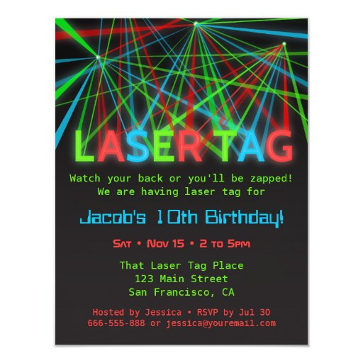 Neon Words Laser Tag Birthday Party Invitations Zazzle