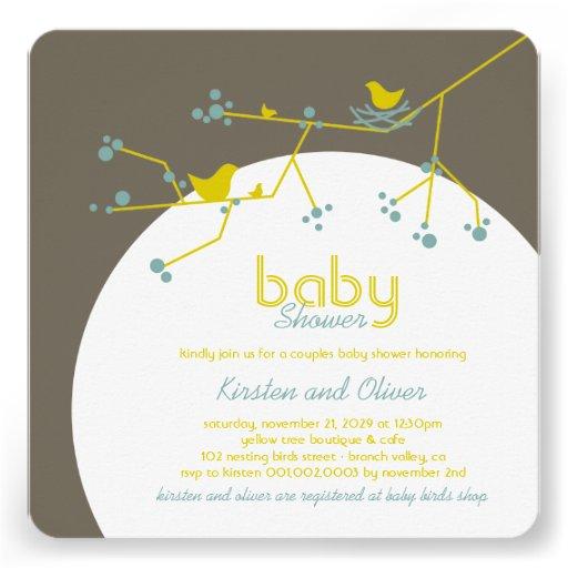 Family Baby Shower Invitations: Nesting Birds Family Tree Couples Baby Shower 5.25x5.25