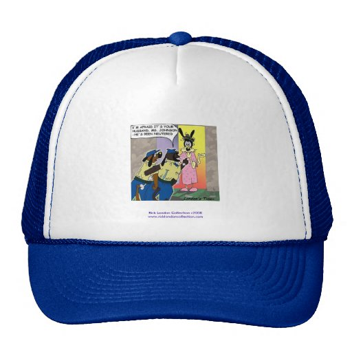 Neutered Dog Funny Cartoon On Quality Cap Mesh Hat Zazzle