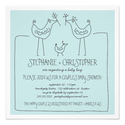 Family Baby Shower Invitations: Neutral Birds Modern Family Couple Boy Baby Shower 5.25x5