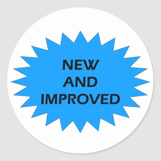 NEW AND IMPROVED Blue Star Round Sticker | Zazzle