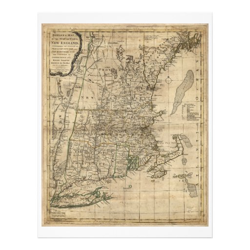 New england revolutionary war era map 1776 letterhead for Revolutionary war newspaper template