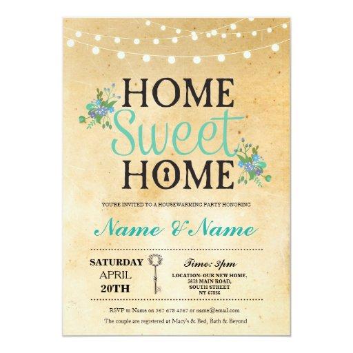 New Home Sweet HouseWarming Key Lights Cute Invite