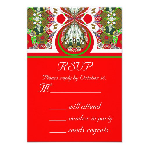 New Red Christmas RSVP Party Invitation Reply Card