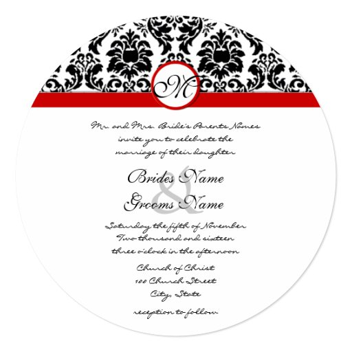 Size Wedding Invitation: New Sizes Black Damask Swirls Wedding Invitation