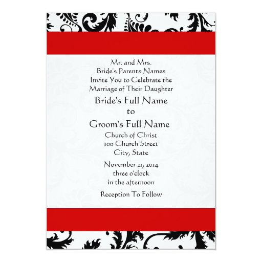 Size Wedding Invitation: New Sizes Damask Swirls Wedding Invitation