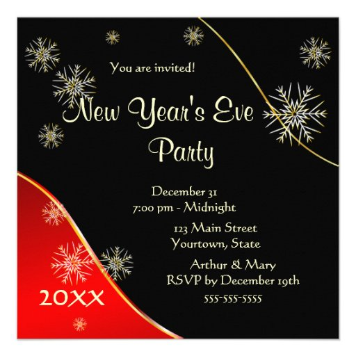 """New Year's Eve Party 2015 5.25"""" Square Invitation Card ...  New Year's ..."""