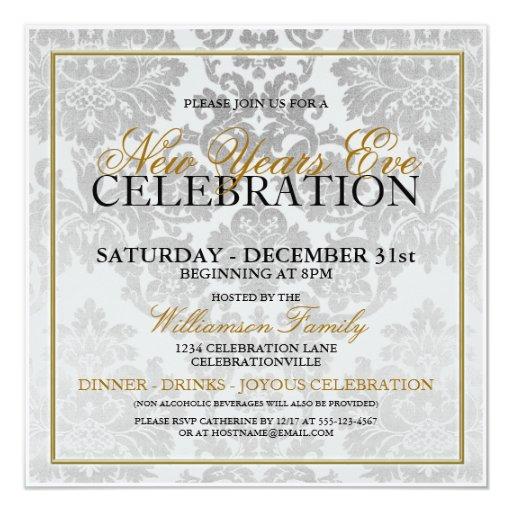 "new years eve party invitation 525"" square invitation"
