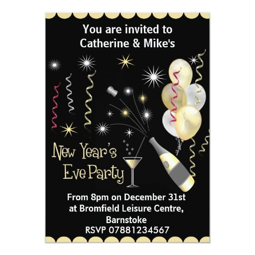 New Years Eve Party Invitation - Black & Gold | Zazzle  New Years Eve P...