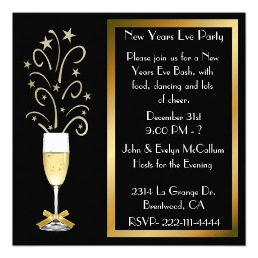"""New Years Eve Party Invitations 5.25"""" Square Invitation ..."""