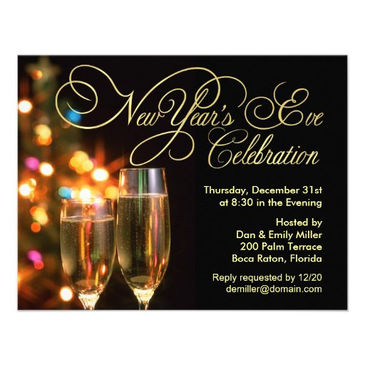 """New Year's Eve Party Invitations 4.25"""" X 5.5"""" Invitation ...  New Year's ..."""
