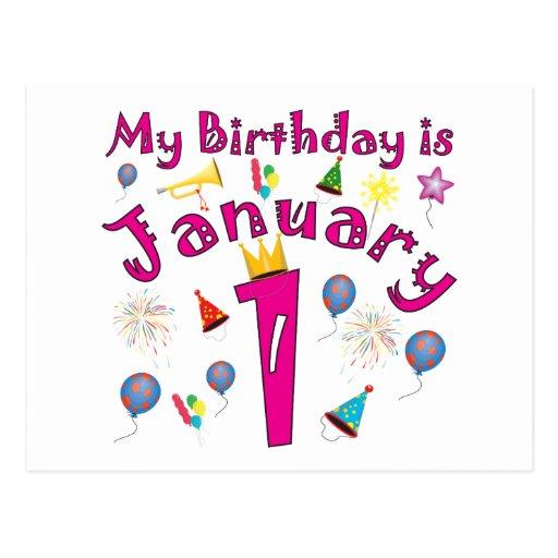 New Year's January 1 Birthday Postcard | Zazzle