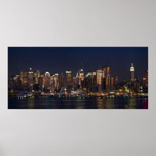 new york city skyline panorama 08 poster zazzle. Black Bedroom Furniture Sets. Home Design Ideas