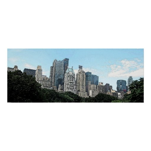 Watercolor New York: New York City Skyline Watercolor Poster Print