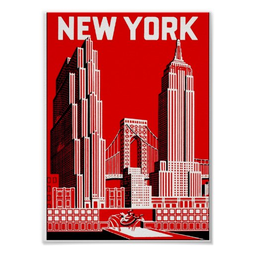 new york in red vintage travel poster zazzle. Black Bedroom Furniture Sets. Home Design Ideas