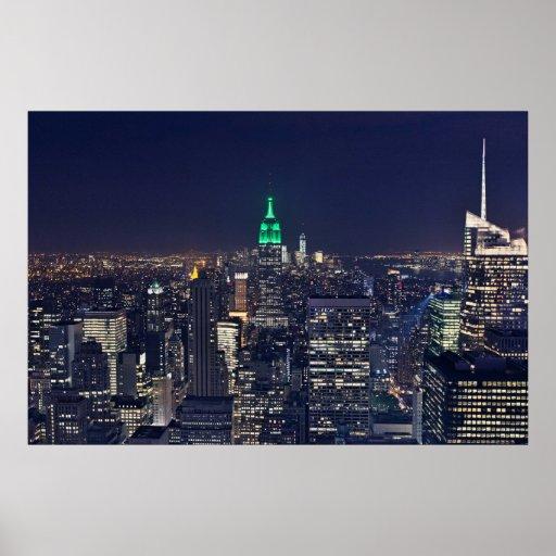 new york night skyline poster zazzle. Black Bedroom Furniture Sets. Home Design Ideas