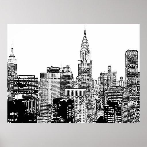 new york skyline posters zazzle. Black Bedroom Furniture Sets. Home Design Ideas